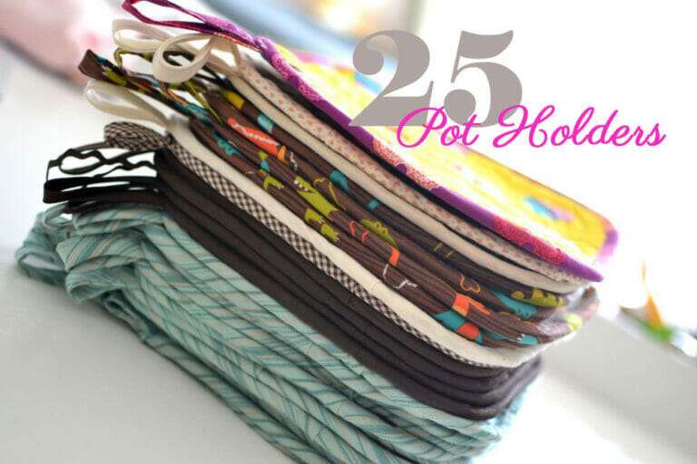 I sewed 25 potholders for a school fundraiser!
