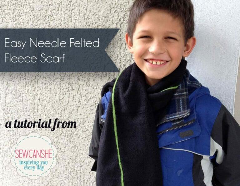 Easy Needle Felted Fleece Scarf: free tutorial