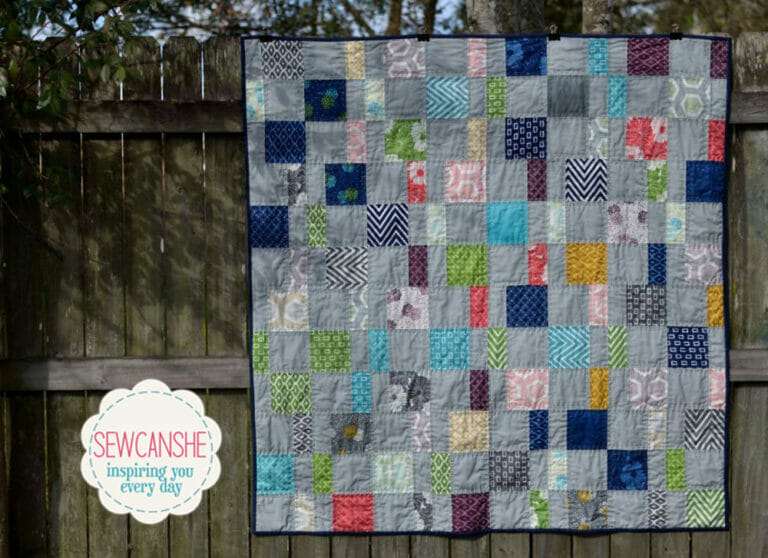 My Charm Pack Cherry Quilt (from a free pattern)
