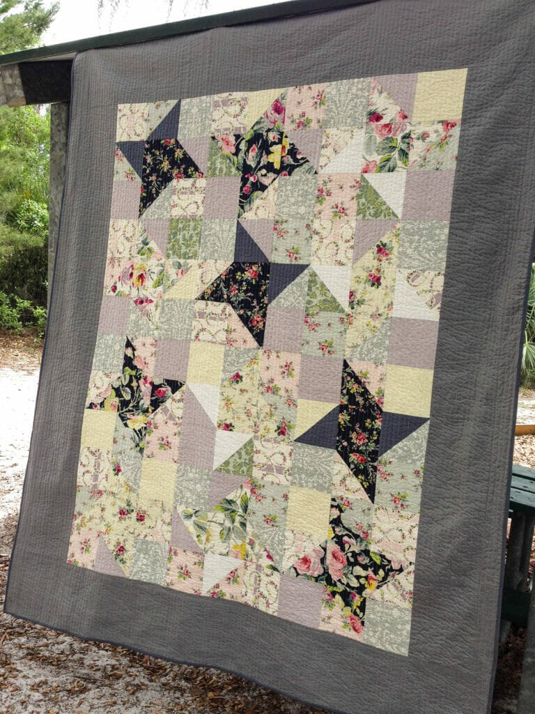 Sewing a twin sized quilt with Friendship Star Blocks