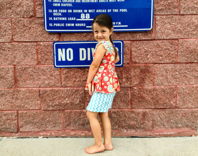 Pattern Review: Sewing the Farrah Girls Peplum Romper from Create Kids Couture