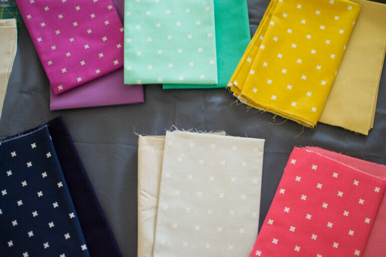 Working on a Cotton + Steel quilt with a pattern from the book Fat Quarter Style