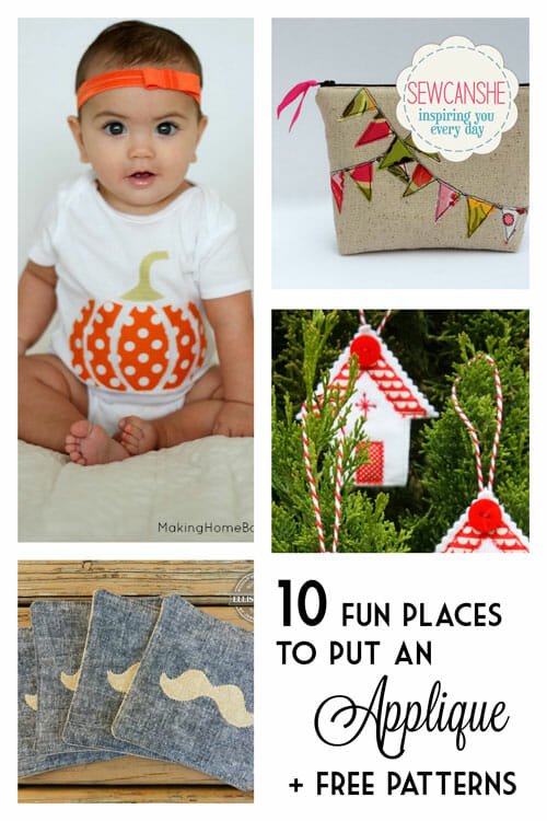10 fun places to put an Applique! (plus lots of free patterns)
