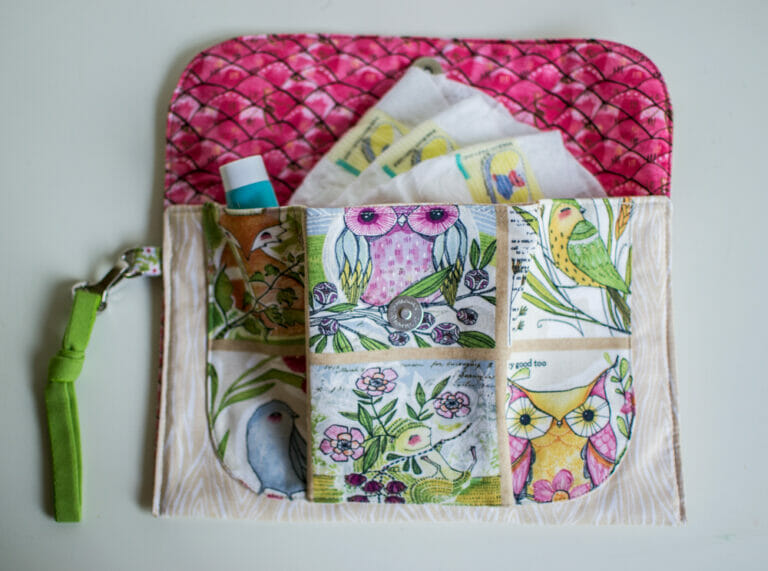 Sewing a diaper clutch with adorable fabric from Cori Dantini