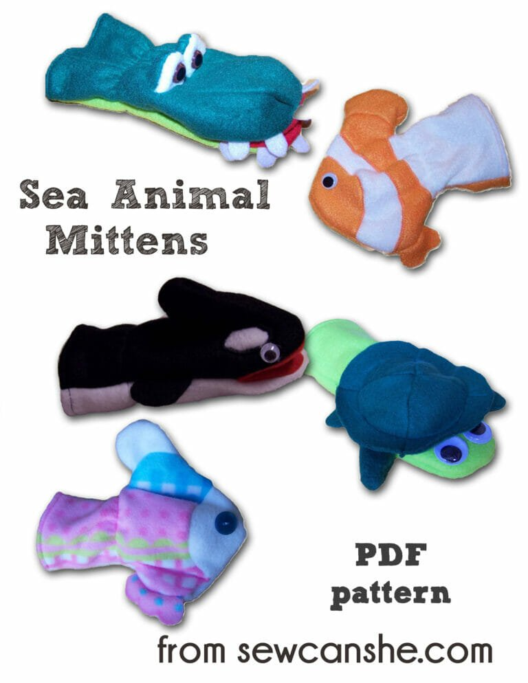 Sea Animal Mittens – free pattern for fleece!
