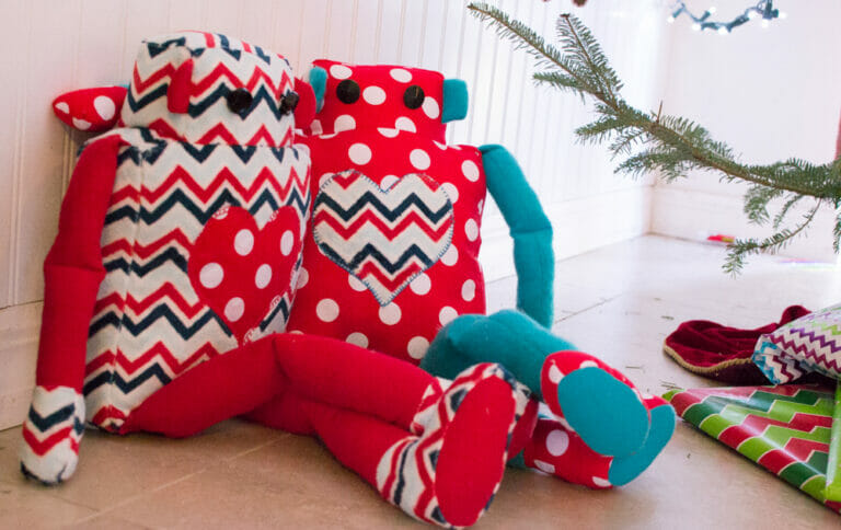 Sewing Christmas Softies – a cute robot, dolls, and a free fox pattern