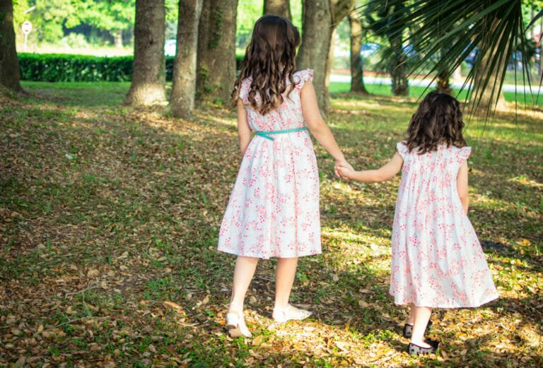 Cadie and Chloe's Easter Dresses sewn from an Ottobre Design Pattern