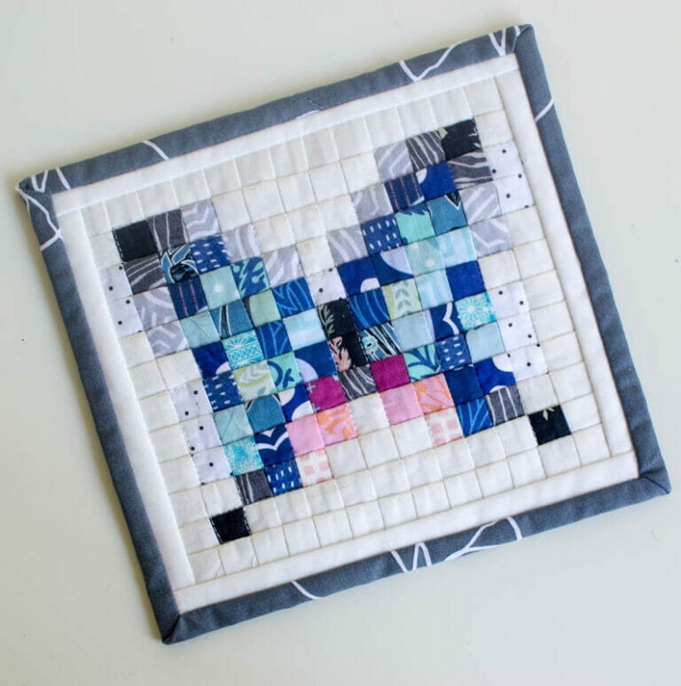 How to Sew Quilts with Gridded Interfacing – plus a Free Butterfly Mini Pixel Quilt Design