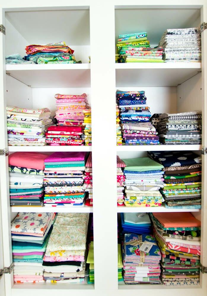 A peek in my fat quarter cupboard!