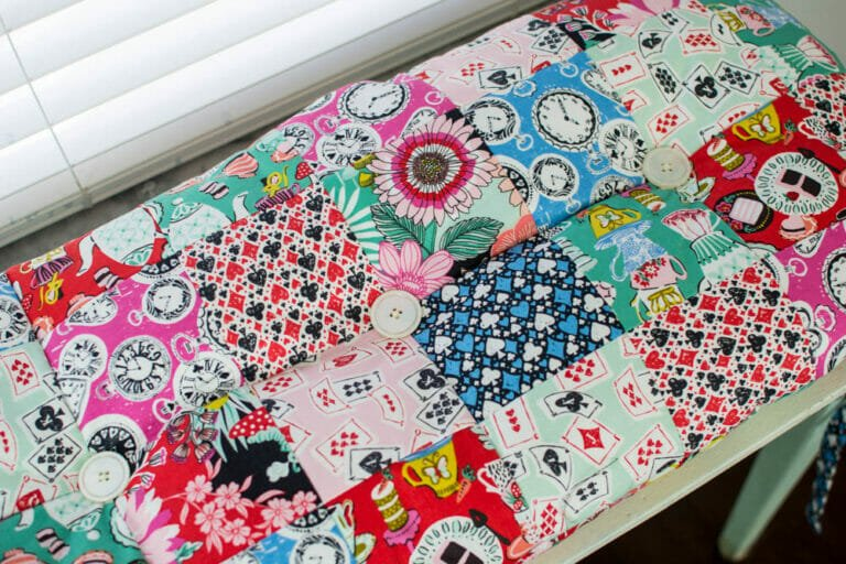 Late for a Date Wonderland Piano Bench Cushion!