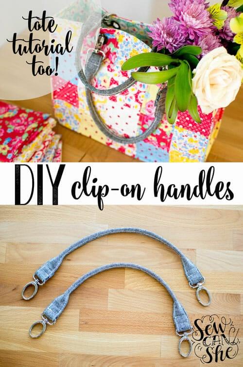 DIY Clip On Tote Bag Handles {free tutorial}