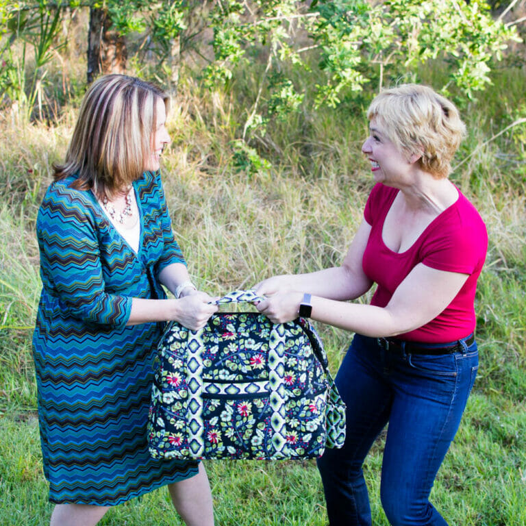 Two Sewing Besties at play…. we made the Ultimate Travel Bag!