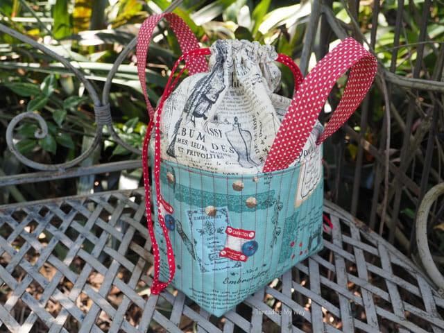 Sewing  Pam's Sweet Drawstring Fabric Basket!
