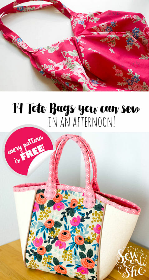 14+ Free Tote Bag Patterns You Can Sew in a Day! (plus tips to make it happen)
