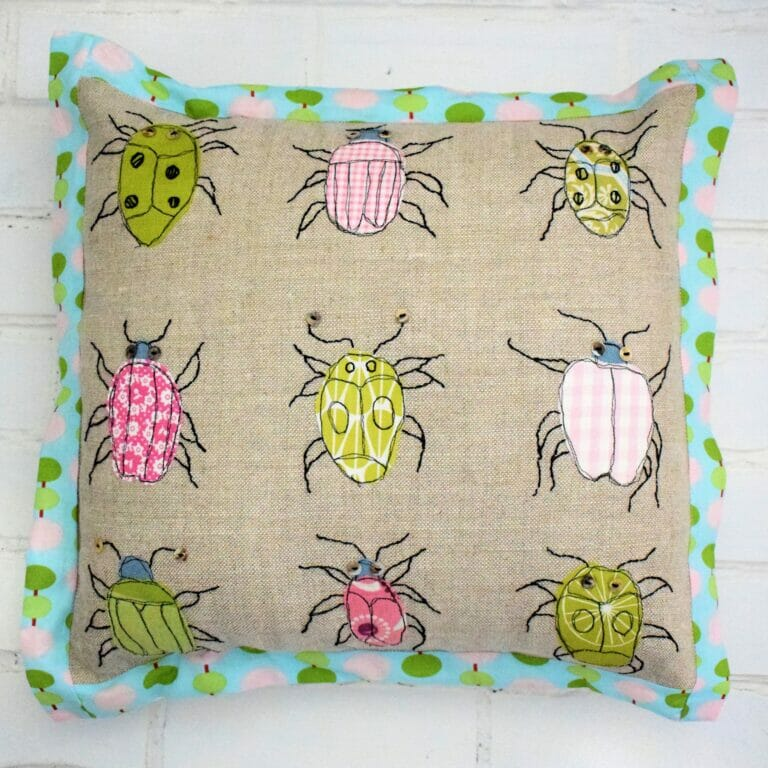 Adorable Bugs Cushion – free throw pillow sewing pattern!