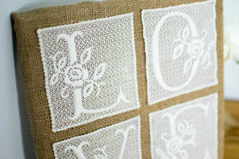 DIY Burlap and Lace Art Piece with Embroidered Lace!