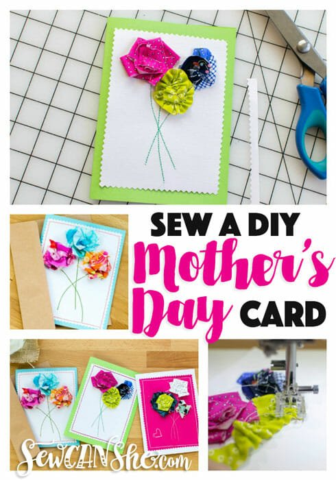 Sew a DIY Mother's Day Card! {3 simple flower techniques using scraps}