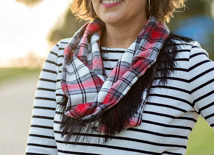 How to Sew a Cute Flannel Scarf with Fringe to make it Pop!