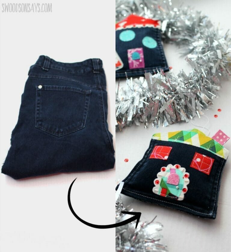 Learn to Sew Jean Pocket Christmas Ornaments!
