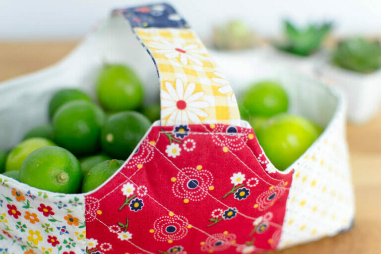 How to Sew a cute Fabric Basket! {from a free pattern}