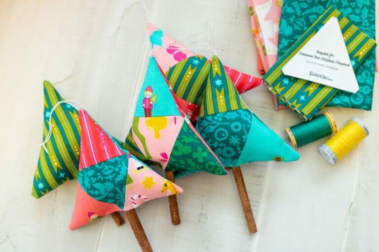 Sew DIY Cinnamon Tree Christmas Ornaments! {free video tutorial + template}