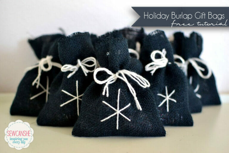 Holiday Burlap Gift Bags – fast and easy tutorial