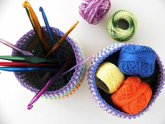 Sewing Cintia's Beautiful and Bright Coil & Crochet Rainbow Baskets!