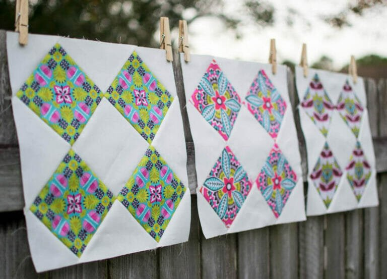 Easy Quilt Block Tutorial: Double Diamonds Block – perfect for fussy cutting