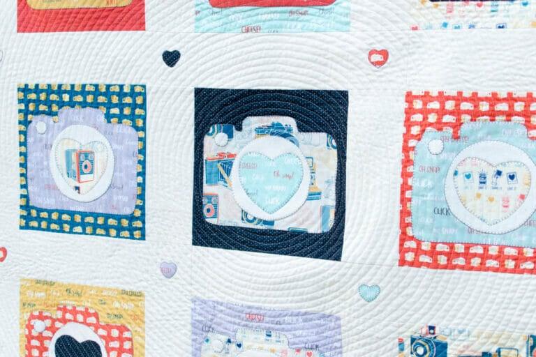 Free Camera Appliqué Design – and quilt block instructions