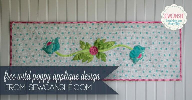 Free Wild Poppy Flower Table Runner Applique Pattern
