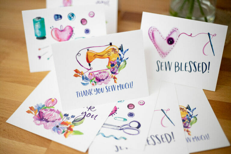 Sewing Themed Thank You Cards – free printable!