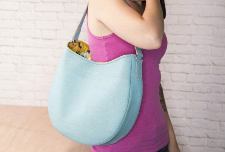 How to Sew an Easy Leather Hobo Bag from a Free Sewing Pattern!