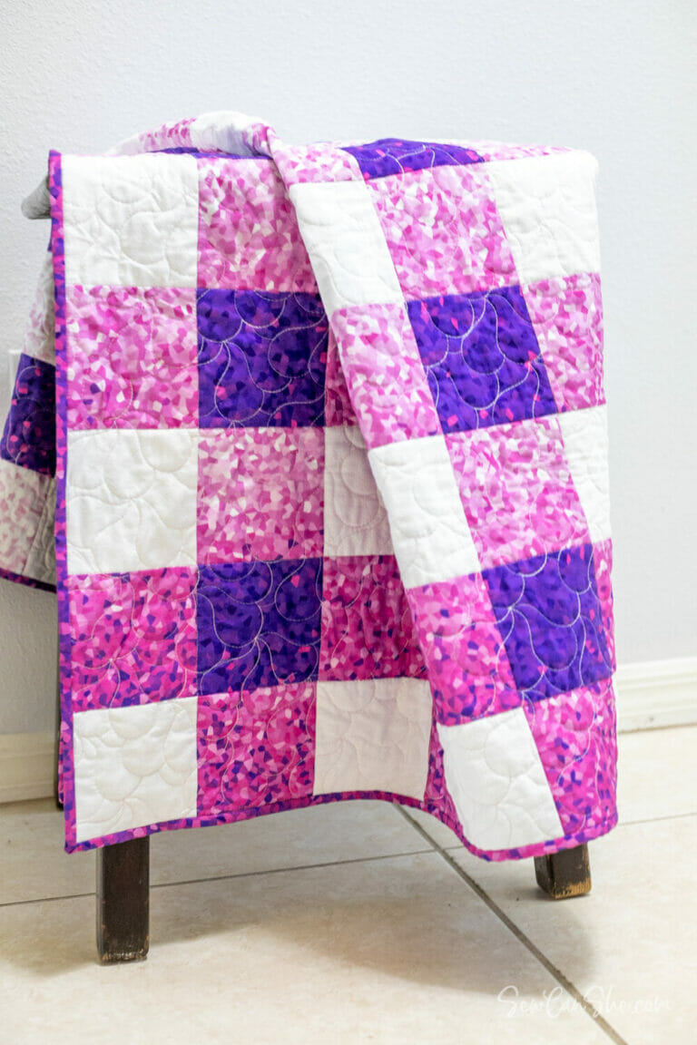 How to Sew a Checked Quilt (with Ombre Fabric too) easy quilt pattern