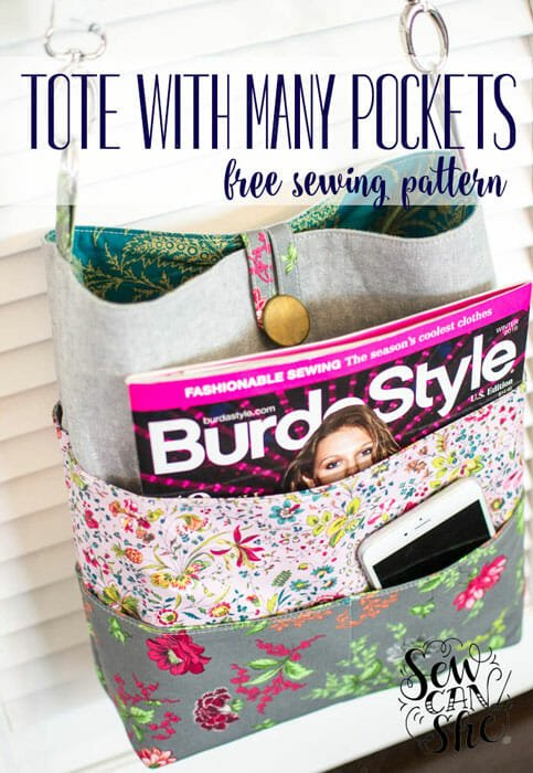 How to Sew a Tote with Many Pockets! {free sewing pattern – Part 1}
