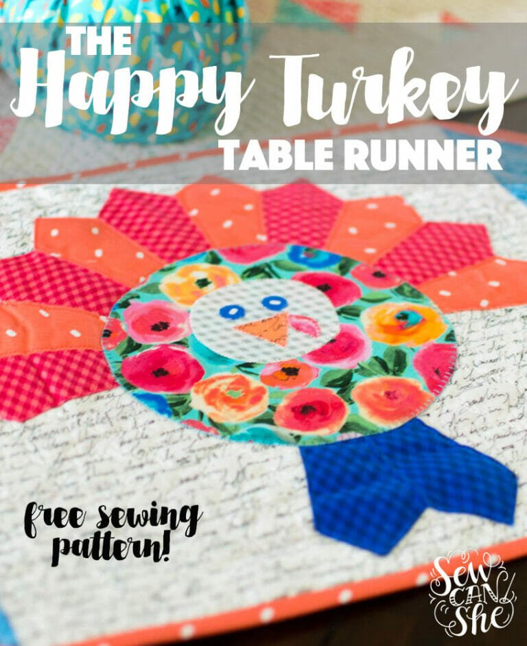 How to Sew a Happy Turkey Table Runner (or mini quilt) – free pattern