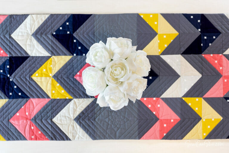 Sew a Modern Table Runner with Half Square Triangles! {free sewing pattern}