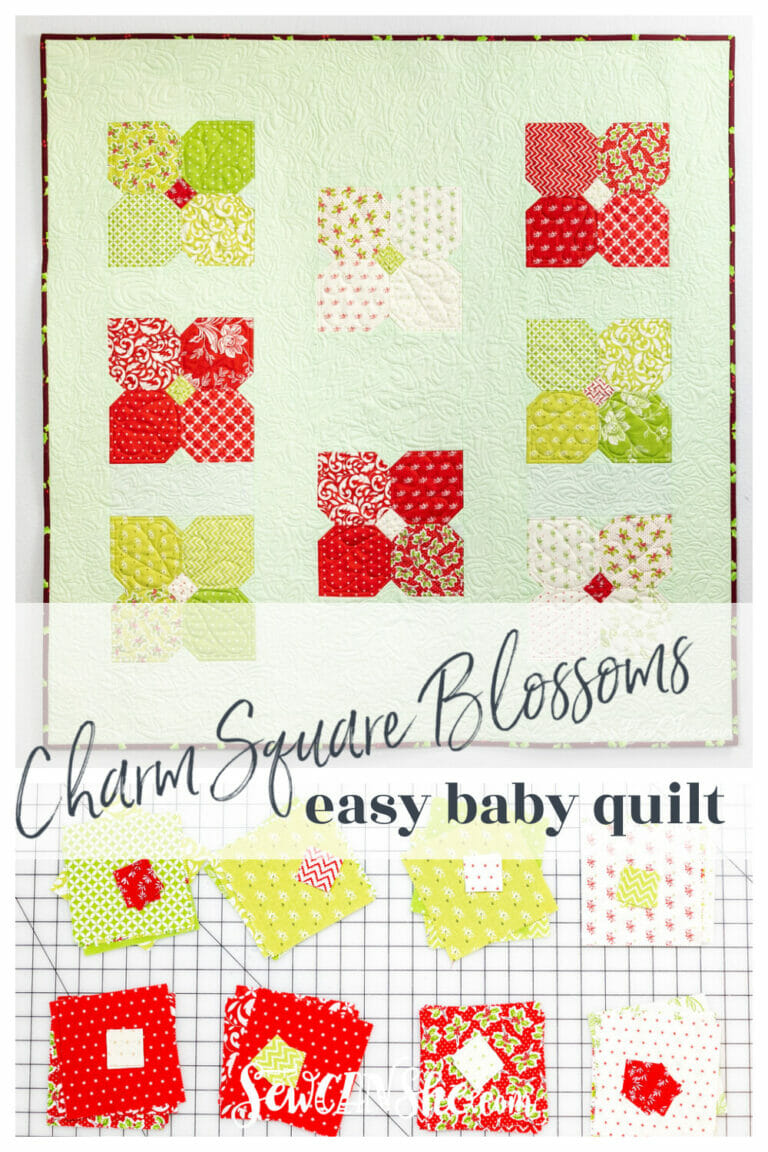 Charm Square Blossoms – Easy and Free Baby Quilt Pattern!