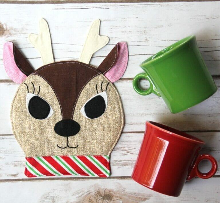 Sew a Playful Reindeer Mug Rug