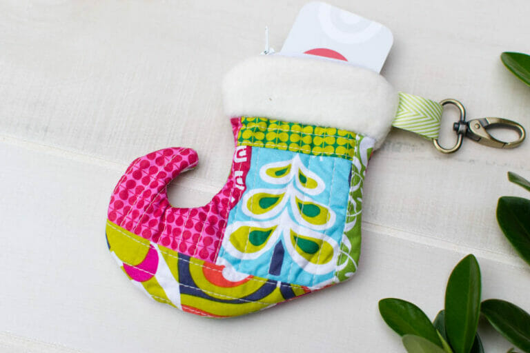 Christmas Stocking Zipper Pouch Sewing Pattern – Perfect for a Gift Card!
