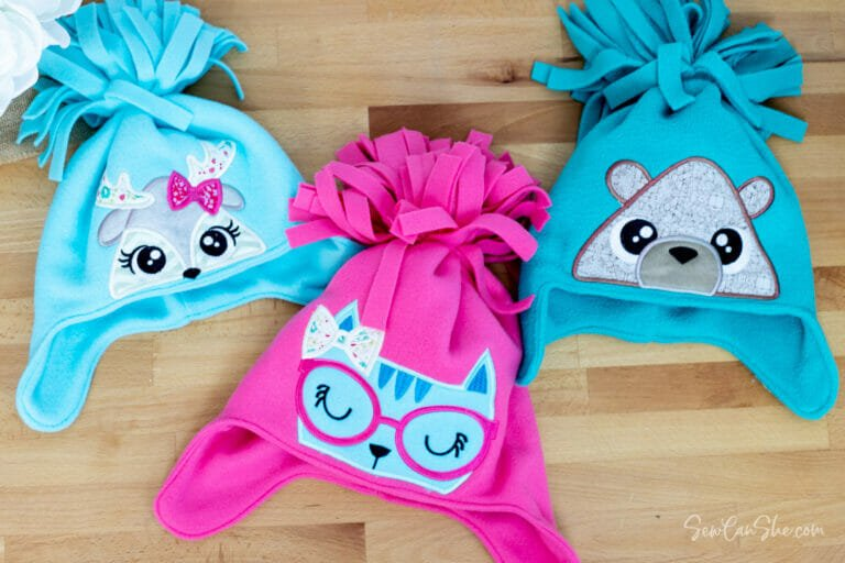 Sewing Easy Fleece Pom Pom Hats with Machine Embroidery!