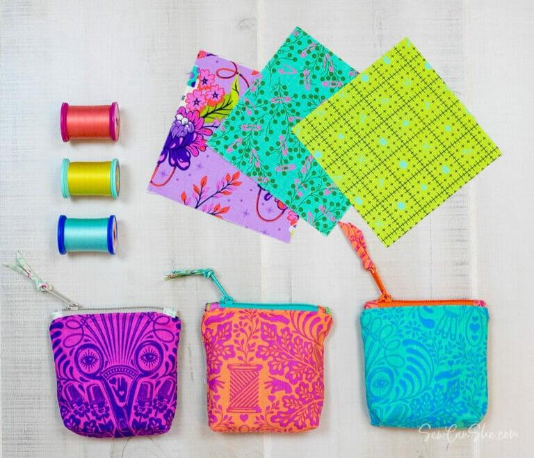 "Tiny Zipper Bags – free tutorial using 5"" Charm Squares!"
