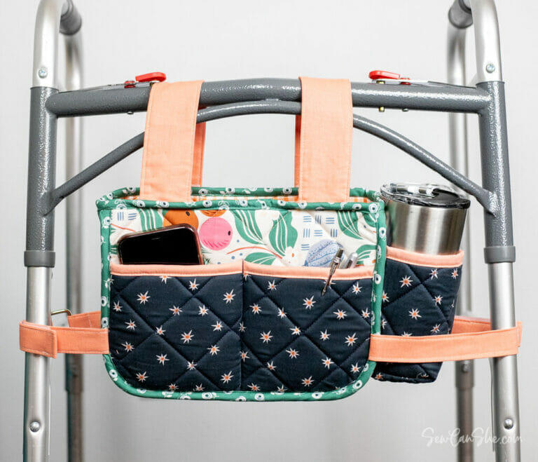 DIY Walker Caddy – with a cup holder! free sewing pattern