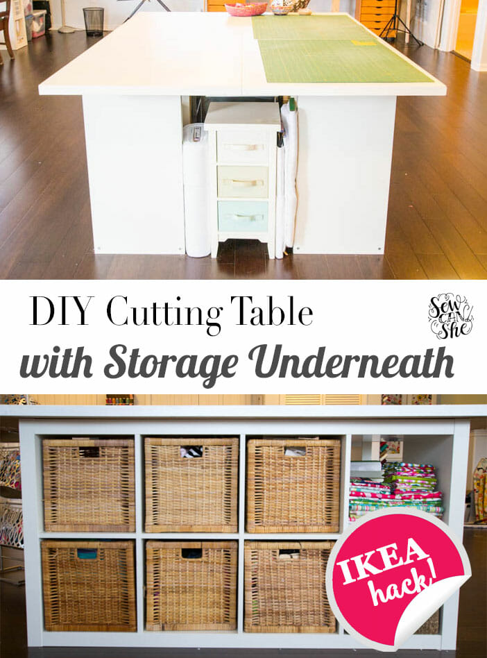 DIY Sewing and Cutting Table – with storage cubbies underneath!