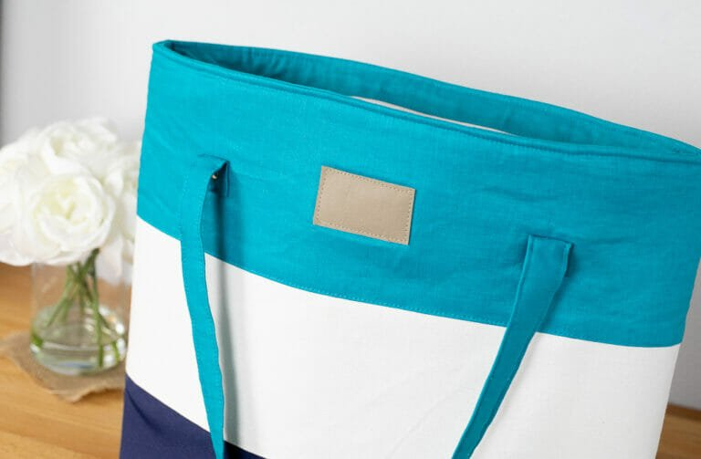 How to Sew a Big Color Blocked Tote Bag – free Sewing Pattern!