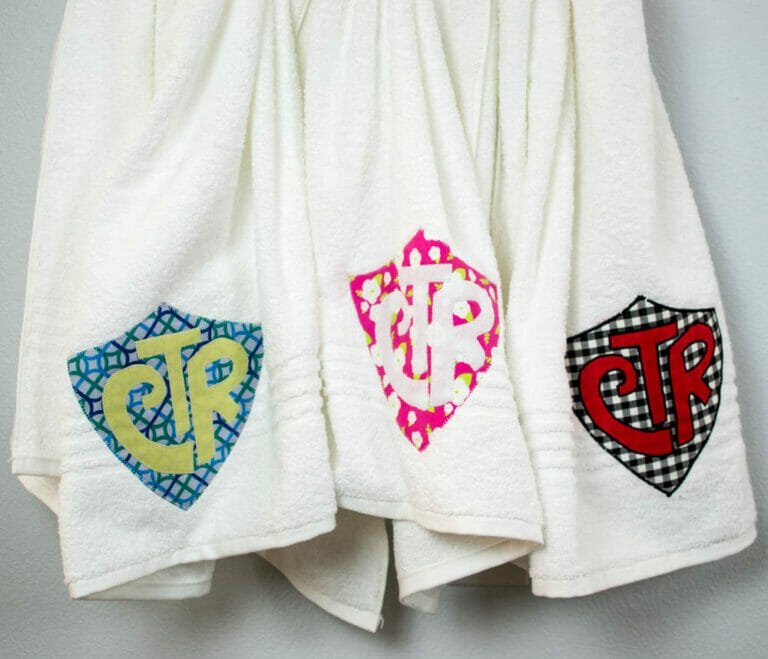 How to Sew CTR Towels for Baptism Gifts (free CTR applique design)
