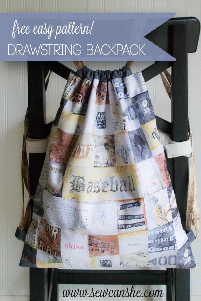 Easy Peasy Drawstring Backpack {free sewing tutorial}
