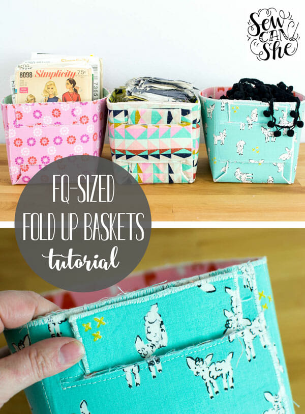 How to Sew Fold Up Baskets – Medium Sized! (free sewing tutorial)