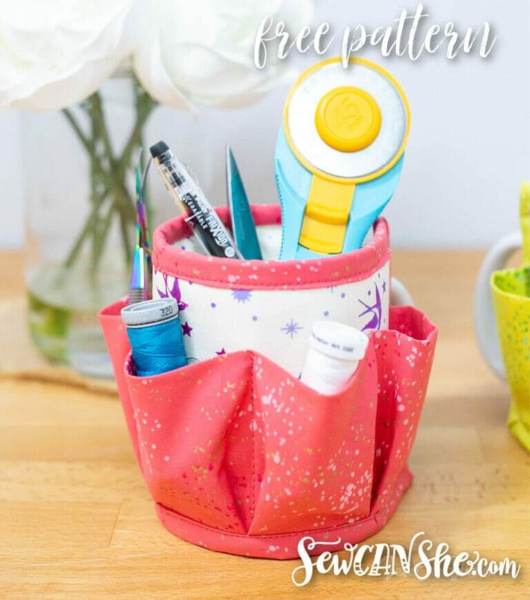 Sew a Mug Caddy Organizer – free fat quarter friendly sewing pattern