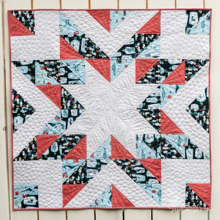 Free Half Square Triangle Star Baby Quilt Pattern – fat quarter friendly!