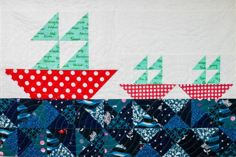 Sailing Away – Free Baby Quilt Pattern with Sailboat Blocks